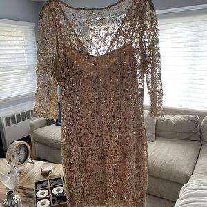 Gold sequin evening dress
